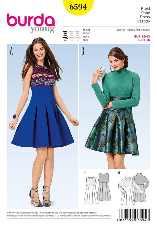 62338da89c Burda Young 6594 Size 6-16 Misses High Waist Pleated Skirt   Etsy