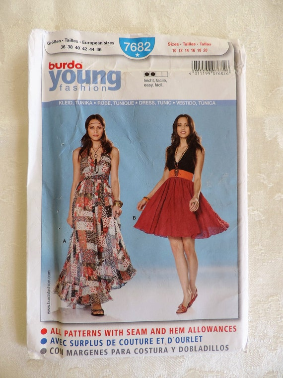 Burda Young 7682 Size 10-20 Maxi Halter Dress Sewing Pattern | Etsy
