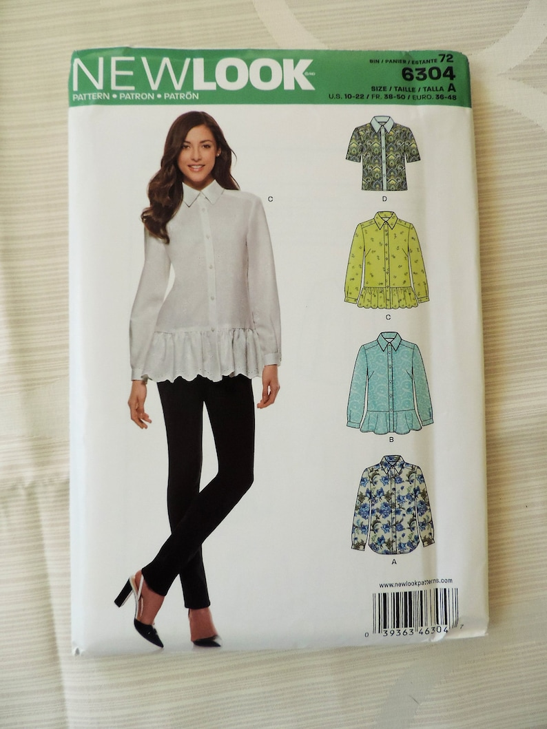 36adbde375a New Look 6304 Size 10-22 Misses Shirt with Ruffle Hem Sewing Pattern /  UNCUT Factory Folded