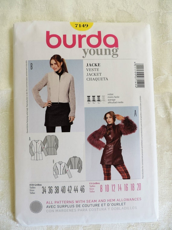 Burda Young 7149 Jacket in 2 Lengths Sewing Pattern / UNCUT | Etsy
