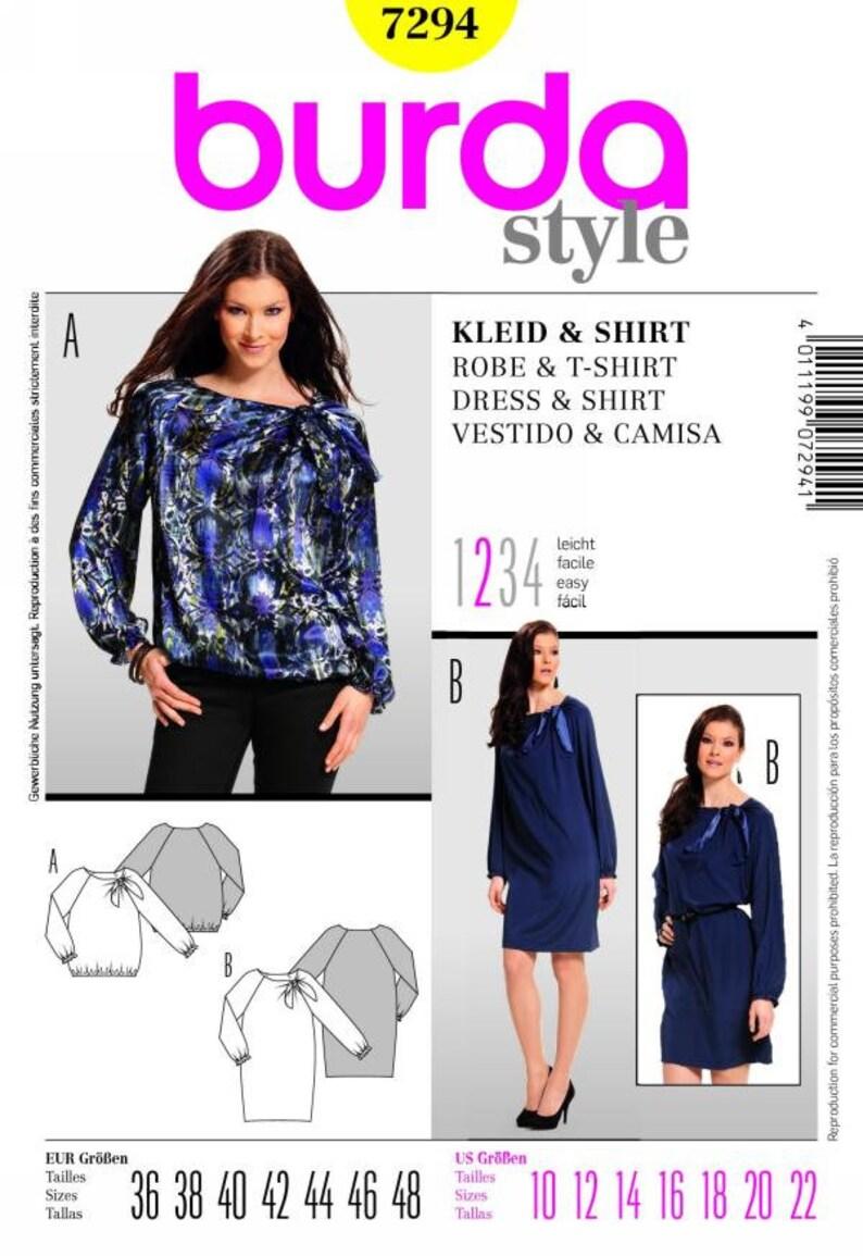 6d8355a898e Burda 7294 Size 10-22 Misses Dress and Shirt Sewing Pattern / Uncut Factory  Folded