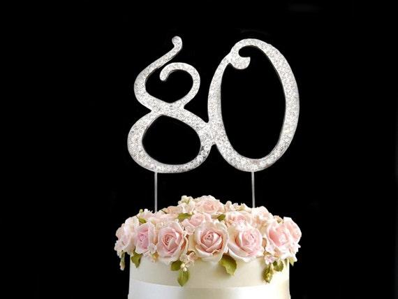 Rhinestone Diamante Decorating Gem Cake Pick Number Topper Anniversary Birthdays