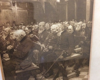 Sepia print showing old soldiers at a church service/pace conference 78