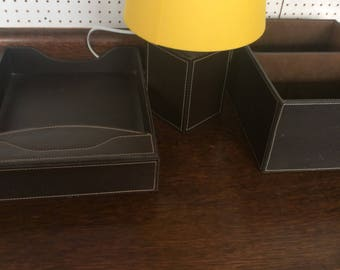Desk tidy set and lamp