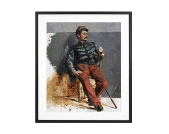 A French Soldier - Ilia Repin -  ca. 1880 Russian Realist Oil Painting High Quality Print