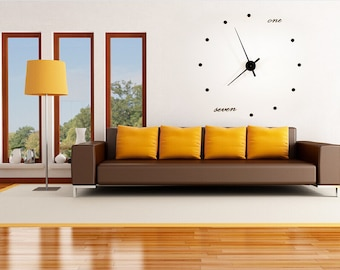 """Large Modern Wall Clock, one+seven, 48"""""""
