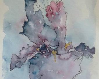 Original iris ink pen and watercolor painting,  blue iris watercolor painting,  iris watercolor painting,  iris art