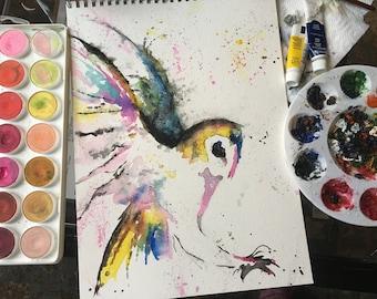 PRINT Owl Watercolor