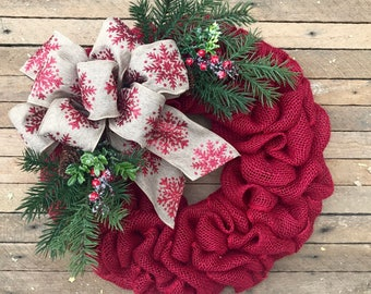 red burlap christmas wreath holiday wreath winter wreath red berries front door wreath christmas decor evergreen wreath with pinecones - Christmas Wreaths Etsy