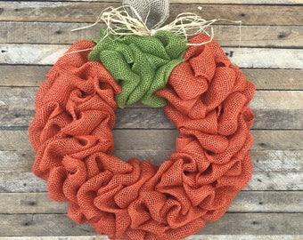 Pumpkin Wreath, Burlap Pumpkin Wreath, Fall Wreath, Autumn Wreath, Halloween Wreath, Front Door Wreath, Orange Wreath, Thanksgiving Wreath
