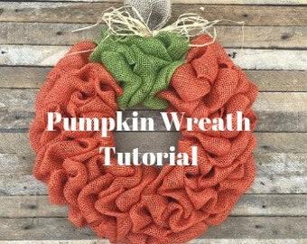 DIY Pumpkin Wreath Tutorial, Video Tutorial,  Fall Wreath Tutorial, Burlap Wreath Tutorial, DIY Fall Wreath, How To Make A Pumpkin Wreath