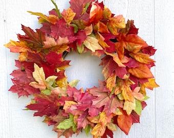Fall Foliage Wreath For Front Door, Fall Leaves Wreath, Maple Leaf Wreath, Arrificial Autumn Leaf Wreath