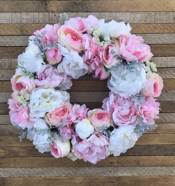 Spring And Summer Floral Wreath With Peonies Hydrangeas And Etsy