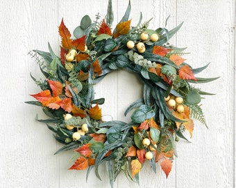 Fall Eucalyptus Wreath With Fall Foliage and Cream Berries, Autumn Door Wreath, Front Door Wreath for Fall