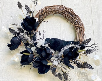 Elegant Halloween Wreath for Front Door, Black Crow and Magnolia Grapevine wreath with White Dried Flowers and White Eucalyptus