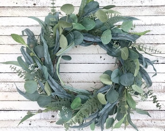 Year Round Eucalyptus Wreath, Spring Wreath for Front Door, Greenery Wreath with Mixed Eucalyptus and Ferns, Farmhouse Wreath, Summer