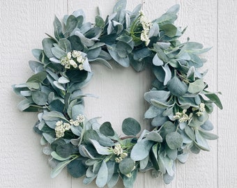 Year Round Lamb's Ear and Eucalyptus Wreath, Year Round Greenery Wreath, Farmhouse Wreath for Front Door