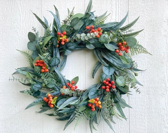 Fall Eucalyptus Wreath With Orange Berries, Fall Greenery Wreath, Mixed Eucalyptus Wreath, Front Door Wreath, Thanksgiving Wreath, Halloween