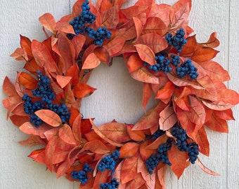 Orange and Blue Fall Wreath For Front Door, Orange Foliage Wreath With Blue Berries, School Spirit Wreath, Croton Wreath