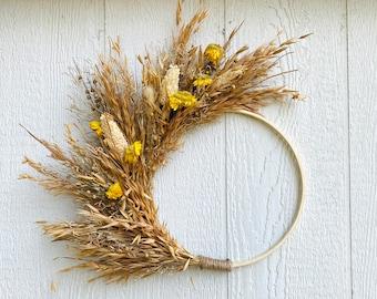 Fall Dried Flower Hoop Wreath, Boho Aesthetic Minimalist Wall Decor, Yellow Strawflower Everlasting Neutral Wreath, Dried Wheat and Grass