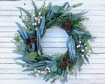Winter Eucalyptus Wreath With Pinecones and White Berries, Farmhouse Christmas Wreath for Front Door, Evergreen Holiday Wreath