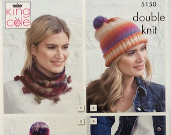 King Cole Knitting Pattern 5150.  Apparel Accessories - Hats, Gloves, Wraps, Shawl