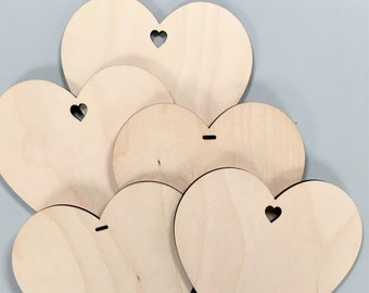 Pack of 5 x 12cm Wooden Craft Blank Heart - perfect for craft projects, mini mosaics, decorations and gifts.