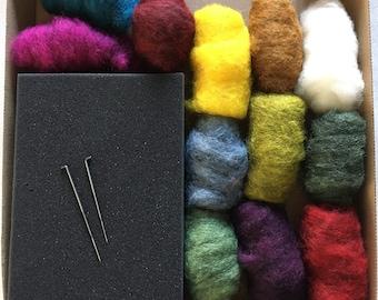Needle Felting Starter Kit.  12 x 10g Hand Dyed Wool Fibres - 2  gorgeous colour packs. A5 Foam Felting Pad & 2 Needles.