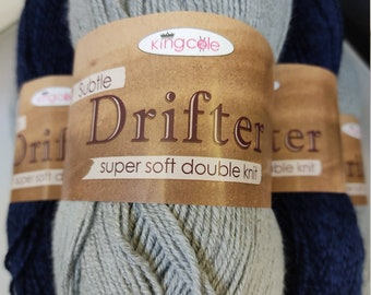 King Cole Subtle Drifter 100g Double Knit Yarn.  Super soft acrylic yarn in grey and two tone navy.