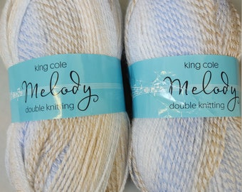 King Cole Melody Double Knit 100g 1834 Cookie.  Soft, self patterning baby yarn