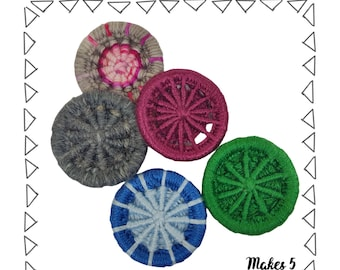 Dorset Buttons Craft Kit. Learn to make beautiful embroidered buttons.  Make 5 buttons or 2 keyrings. Easy step-by-step instructions.