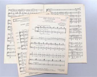 20 Original Vintage Music Sheets - Scrapbook, Junk Journal, Card Making, Papercrafts, Ephemera, Origami