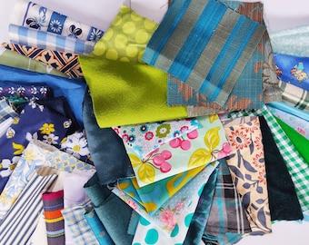 Fabric Scraps Bundle - Patchwork, Quilting, Doll Making, Boro, Collage, Machine Embroidery. Beautiful fabrics, inc. Sanderson & Liberty.