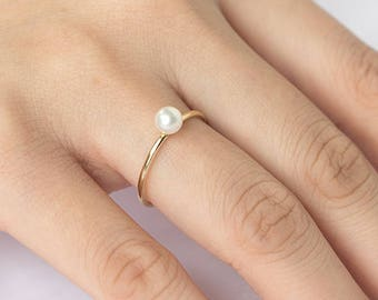 4MM Pearl Solid Gold Ring, Solid 14K Gold Ring, 4MM Freshwater Pearl Gold Ring, Stackable Pearl Ring, June Birthstone, Bridal Jewelry