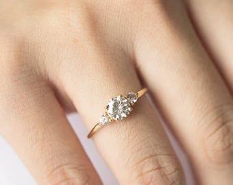 Etsy Moissanite Enement Rings   Three Stone Engagement Ring Etsy