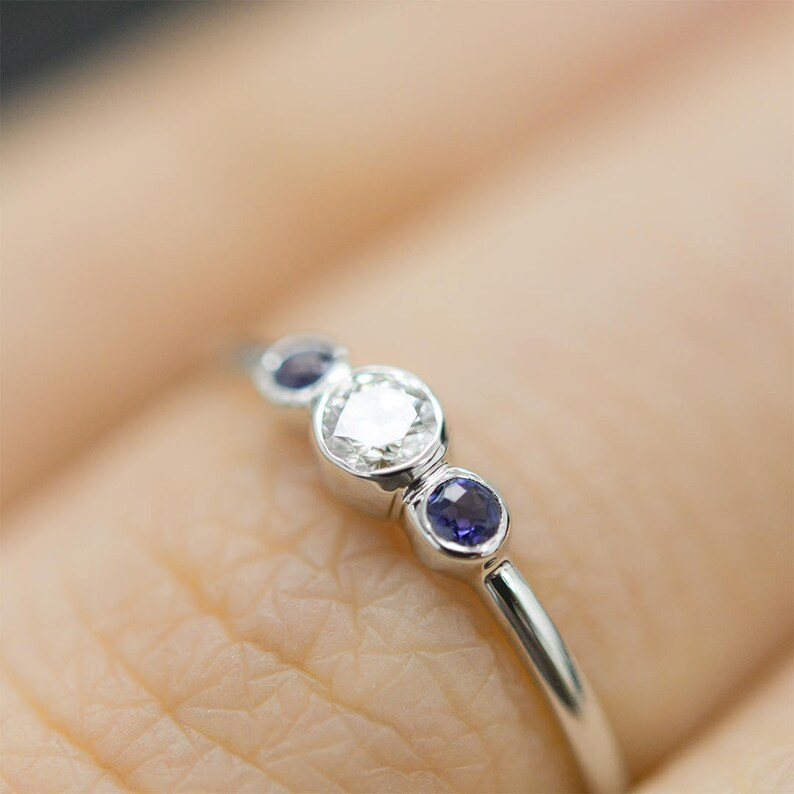 September April Birthstone Ring Push Present 14k Solid Gold Diamond Sapphire Ring Dainty Stacking Ring Three Stone Diamond Sapphire Ring