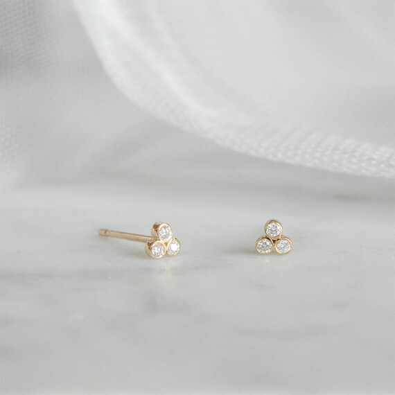 178f843442662 Tiny Diamond Studs, 14k Solid Gold Tiny Earrings, Bezel Set Diamond Studs,  Diamond Trio Earrings, Three Diamond Earrings, Minimal Studs