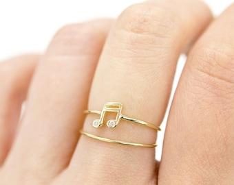 Music Note Diamond Ring, Sixteenth Music Note Ring, 14k Solid Gold Diamond Ring, Birthstone Ring, Dainty Diamond Ring, Burnished Set Ring
