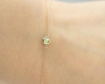 0.13CT Peridot Bezel Bracelet, August Birthstone Bracelet, Peridot Bracelet, Green Stone Bracelet, Dainty Bracelet, Gemstone Bracelet