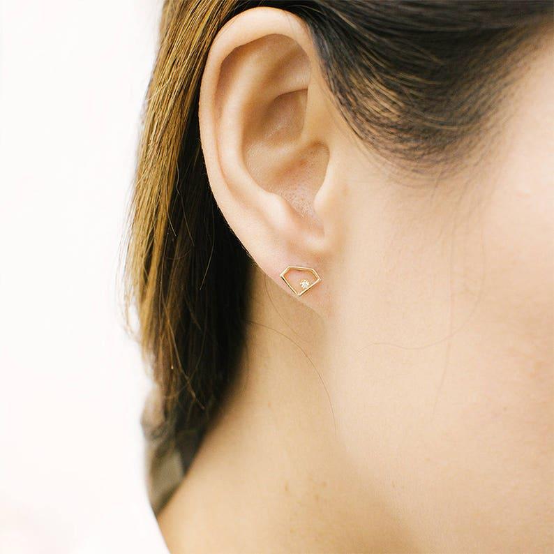 ff0f02e628f2f Tiny Diamond Shape Studs, 14k Solid Gold Diamond Earrings, Diamonds Studs,  Dainty Gold Earrings, Modern Diamond Earrings, Minimalist Jewelry