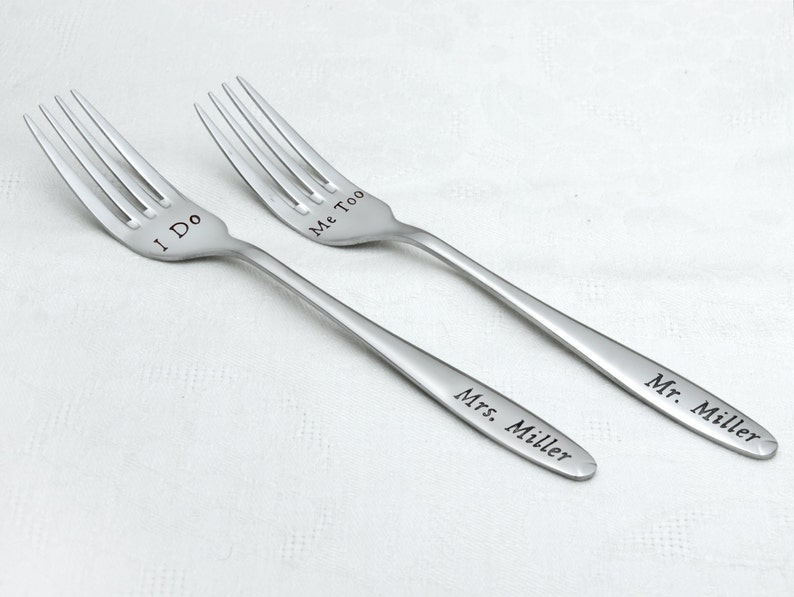 Personalized Forks with Names on the Handles I Do-Me Too Forks Wedding Cake Forks Wedding Forks