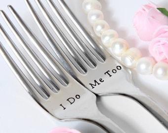 Wedding Forks, I Do-Me Too Forks, Wedding Cake Forks, Personalized Forks with Dates on the Handles, Wedding 2019