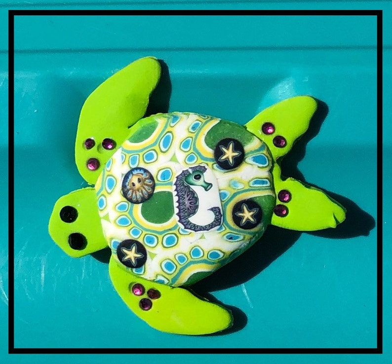 Whimsical Polymer Clay Tortoise or Turtle Brooch or Magnet 5 to choose from