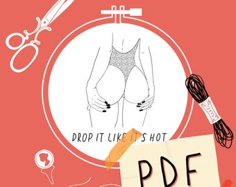 Drop It Like It's Hot, Hand Embroidery Art Pattern, PDF Pattern
