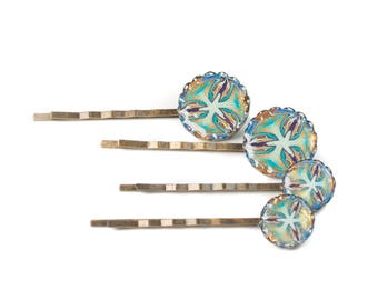 1 Polymer Clay Hair Clip, Kaleidoscope Bobby Pins, Hair Slides, Small Hair Clips for Women, Hair Accessories for Women Bronze Adornments