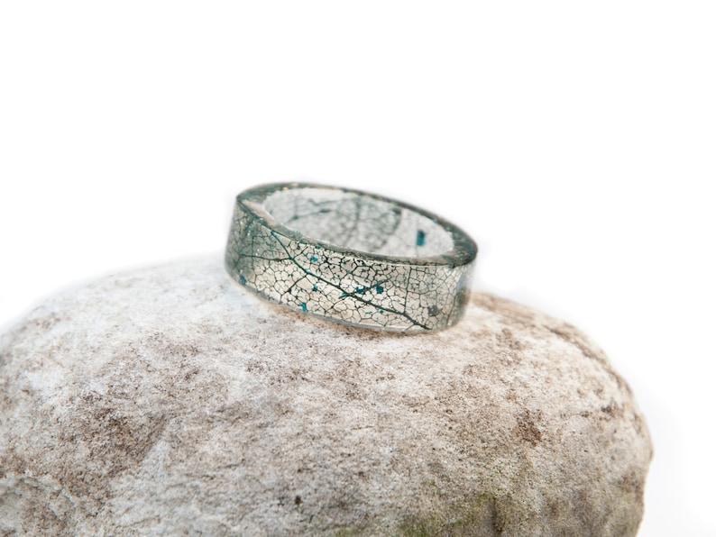 Nature Inspired Ring Real Leaf Ring Band Skeleton Leaf Ring Resin Green Resin Ring Green Leaf Ring Nature Ring Women Botanical Resin