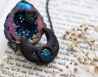 Mystical Half Moon and Blue Druzy Stone Necklace / fantasy, magical, celestial, night