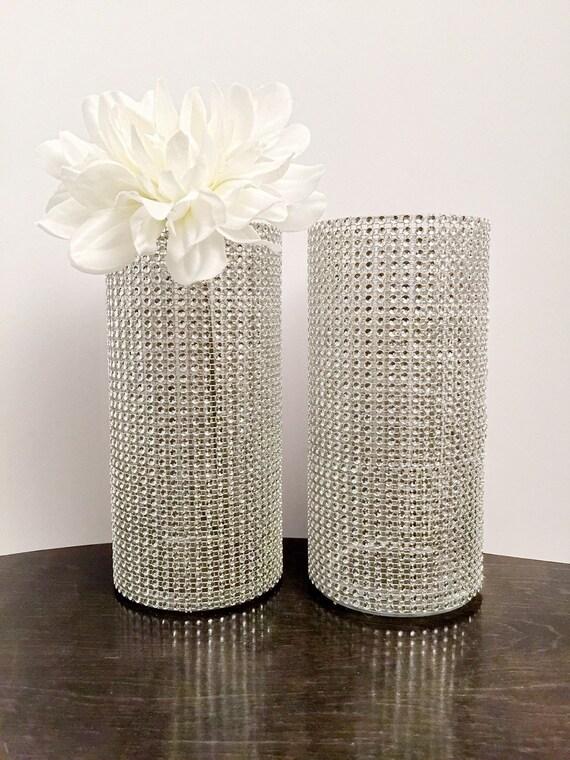 Bling Rhinestone Centerpieces Set Of 2 Bling Vases Wedding Etsy