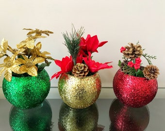 Christmas bling vases Centerpiece  set if 3