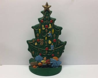 Vintage Cast Iron Doorstop Christmas Tree Holiday Santa Pine Evergreen Tree Decorated